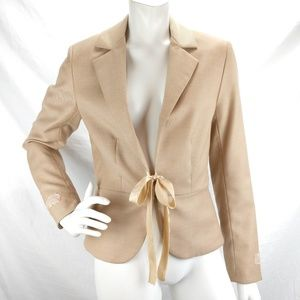 Rebecca Taylor Tan Ribbon Tie Blazer Wool Blend 6